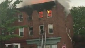 BALTIMORE FF INJURED AFTER FALL OFF LADDER AT FIRE