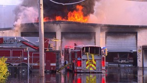 2 FIREFIGHTERS INJURED AT 5 ALARM WAREHOUSE FIRE IN BOSTON