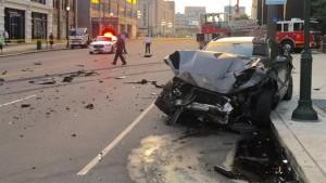 CAR vs. TILLER CRASH IN PHILLY