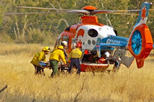 FIREFIGHTER AIR LIFTED FROM CA REY FIRE