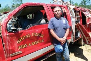 ALABAMA FIRE APPARATUS AND CHIEF PICKED UP, TOSSED & THROWN BY TORNADO-AND THE CHIEF LIVES TO TELL ABOUT IT