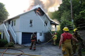 FIREFIGHTER LACERATED IN FIRE IN PA