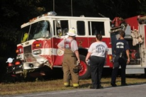 FIRE APPARATUS STRUCK/CATCHES FIRE IN VA