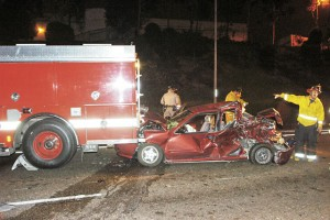 A FIRE TRUCK, RESPONDING TO AN ACCIDENT ON 163, WAS REAR-ENDED BY ANOTHER VEHICLE
