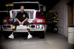 FIREFIGHTERS LOSS OF LEGS DOESN'T SLOW HIM DOWN