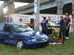 BELMONT AMBULANCE AND CAR COLLIDE – WHEELING, WEST VIRGINIA