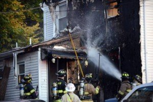 FIREFIGHTER DOWN / CPR AT MULTI ALARM FIRE-REVIVED