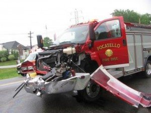 2 New York State Fire Apparatus Collide Responding