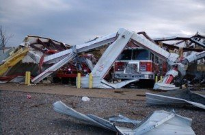 FIREHOUSE DESTROYED AND CIVILIANS KILLED AS TORNADO RIPS THRU ARKANSAS AND OTHER STATES
