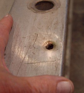 LADDER TESTING REVEALS BULLET HOLE IN DETROIT LADDER