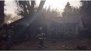 FIREFIGHTER FALLS THROUGH ROOF IN CA