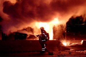 CA FIREFIGHTER BURNED AT VEHICLE FIRE
