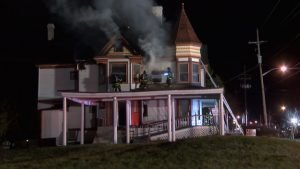 INDIANA FIREFIGHTER INJURED AT FUNERAL HOME FIRE