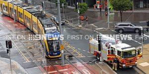 FIRE TRUCK DERAILS TRAM IN AUSTRALIA