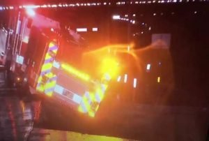 FIRE ENGINE FALLS OFF ROAD DURING CA STORM