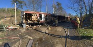 KY FIREFIGHTER TREATED FOR SMOKE INHALATION AT TRAILER FIRE