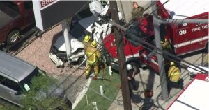TWO L.A. FIREFIGHTERS HURT IN VIOLENT AMBULANCE CRASH