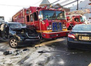 NEWARK RESCUE 1 CRASH – INJURED FIREFIGHTERS RENDER AID
