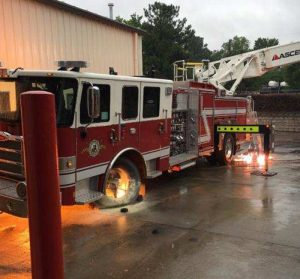 LADDER TRUCK FIRE IN NC AT DEMO