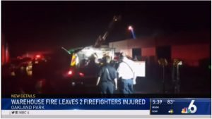 TWO FLA. FIREFIGHTERS HURT AT WAREHOUSE BLAZE
