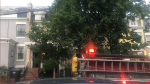 DC FIREFIGHTER INJURED AT ROW HOUSE FIRE