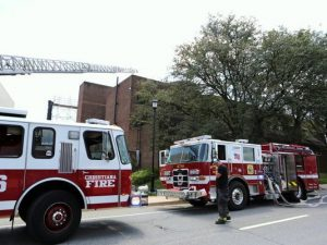2 DE FIREFIGHTERS INJURED AT UNIVERSITY BUILDING FIRE