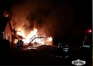 FOUR ARK. FIREFIGHTERS HURT AT 2-STRUCTURE FIRE