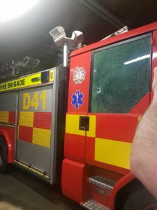 DUBLIN, IRELAND FIRE ENGINE ATTACKED AT BON FIRE