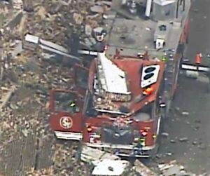 2 FIREFIGHTERS INJURED, LADDER TRUCK DESTROYED AT ST. LOUIS FIRE