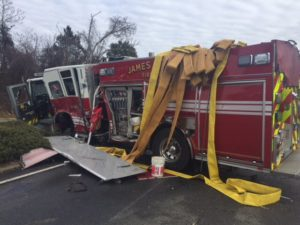 4 INJURED – VA FIRE ENGINE vs. SEPTIC TRUCK CRASH