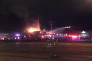 NV FIREFIGHTER INJURED AT STRIP MALL FIRE