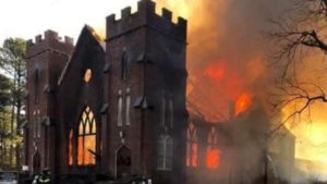 NC FIREFIGHTER INJURED AT CHURCH FIRE