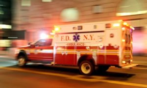 MAN SURVIVES LEAP FROM MOVING FDNY AMBULANCE