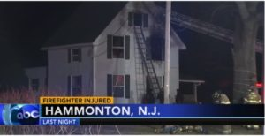 NJ FIREFIGHTER SUFFERS MEDICAL EMERGENCY AT BLAZE
