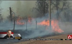 OKLA. FIREFIGHTERS NEARLY TRAPPED BY WILDLAND BLAZE