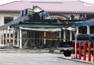 TWO IND FIREFIGHTERS HURT AT STRIP MALL FIRE, 1 HOSPITALIZED