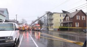 MA FIREFIGHTER INJURED WHEN FIRE BUILDING ROOF COLLAPSES
