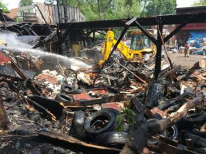 FIREFIGHTER BURNED AT VACANT NY LUMBER YARD FIRE