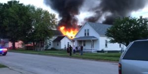 FIREFIGHTER INJURED IN CEILING COLLAPSE AT IOWA FIRE