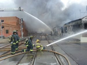 FIREFIGHTER INJURED AT STOCKTON COMMERCIAL FIRE