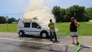 CAR FIRE INSANITY FROM INDIANA!