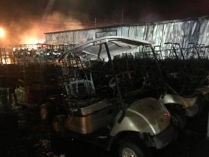 FOUR ALABAMA FIREFIGHTERS INJURED AT GOLF CART BUSINESS FIRE