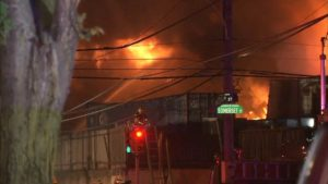 PHILLY FIREFIGHTER INJURED AT MASSIVE 4 ALARM FIRE