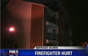 ATLANTA FIREFIGHTER HIT IN HEAD BY DEBRIS