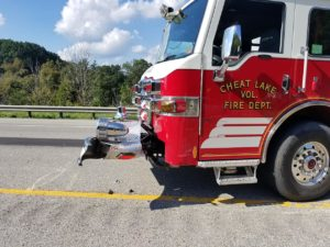 FIRE CHIEF TALKS ABOUT RIG HIT BY TWO VEHICLES