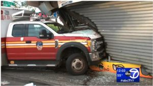 TWO FDNY FIREFIGHTERS HURT WHEN AMBULANCE HIT CAR, STORE FRONT