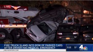 FDNY FIREFIGHTER HAS MEDICAL EMERGENCY, CRASHES RIG INTO 10 PARKED CARS
