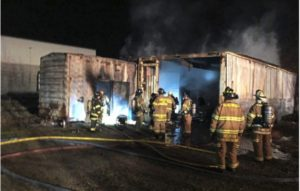 PA. FIREFIGHTER HURTS ANKLE AT STORAGE-CONTAINER FIRE
