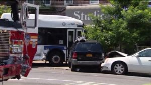 FDNY ENGINE SLAMMED BY MTA BUS