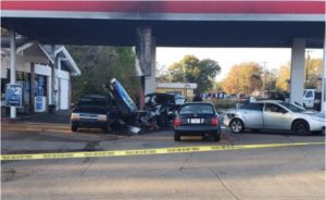 MAN CRASHES INTO GAS STATION, SHOOTS AT FIREFIGHTERS